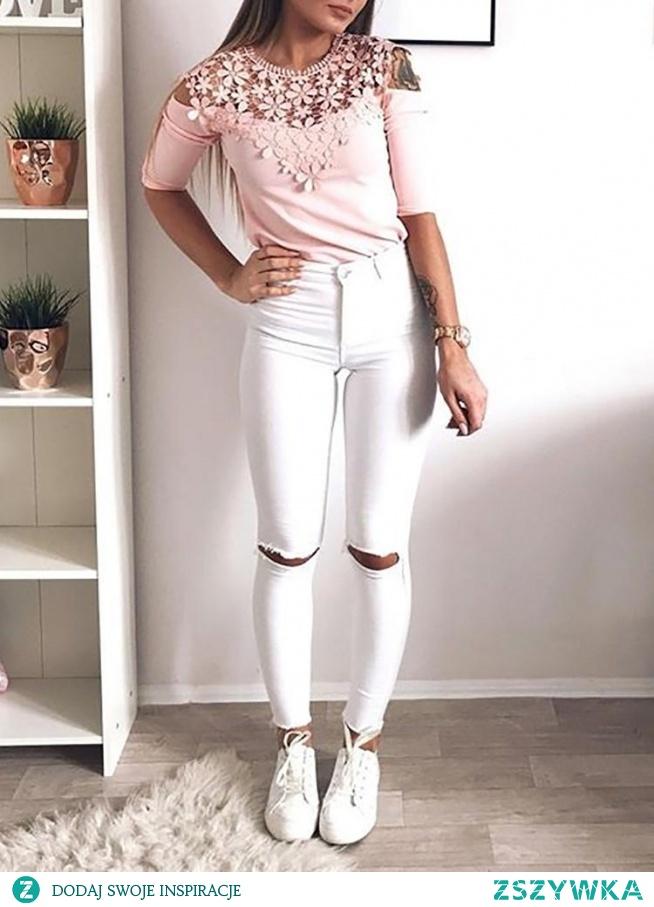 Lace Applique Cold Shoulder T-Shirt Rozmiar: S, M, L, XL Kolor: pink
