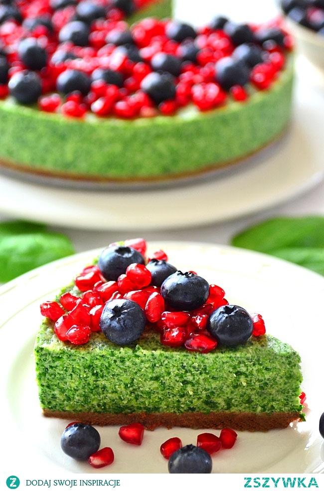 Zielony sernik ze szpinakiem w stylu leśnego mchu - BEZ pieczenia