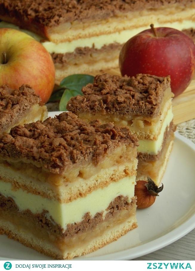 Szarlotka z kremem budyniowym 1 1/2 kg słodkich jabłek (waga po obraniu) 50 g masła 2 łyżki cukru z prawdziwą wanilią 1/3 łyżeczki cynamonu 1/4 łyżeczki mielonych goździków 1 łyżeczka skórki otartej z cytryny CIASTO KRUCHE: 3 szklanki mąki pszennej 1 szklanka mąki krupczatki 1 1/2 łyżeczki proszku do pieczenia 1/2 szklanki cukru drobnego 250 g masła 3 żółtka 2 jajka 2 łyżki śmietany 2 łyżki kakao KREM BUDYNIOWY: 1 opakowanie galaretki cytrynowej 1/2 szklanki wody 1 1/2 szklanki mleka 2 łyżki cukru 1 opakowanie budyniu śmietankowego 200 g śmietanki kremówki 30% Ciasto kruche. Mąkę pszenną przesiać na stolnicę, wymieszać z mąką krupczatką, cukrem i proszkiem do pieczenia. Posiekać nożem z zimnym masłem, a następnie dodać jajka, żółtka i śmietanę. Zagnieść ciasto i podzielić na pół. Jedną z połówek rozdzielić na dwie formy o wymiarach 21 x 25 cm. Formy najlepiej jest wyłożyć papierem do pieczenia, tak aby wystawał po brzegach. Wstawić do lodówki. Do drugiej części ciasta wsypać kakao i wgnieść, aż będzie miało jednolity kolor. Zawinąć w folię i włożyć do zamrażalnika na czas przygotowywania jabłek.  Jabłka obrać, wyciąć gniazda nasienne i pokroić w kostkę. W garnku o szerokim dnie rozpuścić masło i wrzucić skrojone jabłka. Dodać cukier waniliowy, sok z cytryny i przyprawy. Jeżeli jabłka nie są wystarczająco słodkie można dosypać cukru białego. Prażyć, aż jabłka zmiękną, a sok odparuje. Odstawić do wystudzenia. Wyłożyć połowę jabłek na jedno z jasnych ciast, wyrównać i zetrzeć na tarce jarzynowej połowę ciemnego ciasta. Wstawić do piekarnika nagrzanego do 190 *C z funkcją góra – dół i piec przez około 40 min. Po upieczeniu wstawić do piekarnika drugą szarlotkę. Wystudzić i wyjąć z formy usuwając papier do pieczenia.  Krem budyniowy. Galaretkę rozpuścić w pół szklanki wrzącej wody. Jeżeli żelatyna w galaretce nie zdąży się rozpuścić, można ją delikatnie podgrzać. Wlać mleko do garnka, odlewając niewielką część, w której rozprowadzamy proszek budyniowy. Mleko osłodzić cuk