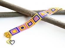 Bardzo kolorowa bransoletka w stylu BOHO, idealna na lato. Kontrastujące kolo...