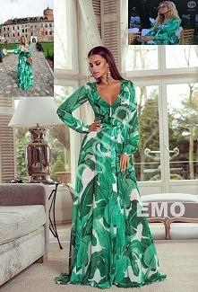 Zielona zwiewna suknia - su...