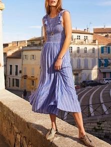 Striped Shirring Flutter Sleeve Casual Dress Rozmiar: S, M, L, XL Kolor: blue