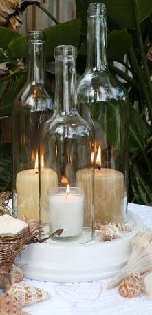 Świeczniki wykonane z butelek z odciętym denkiem. Wykonujemy takie na zamówie...