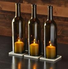 Świecznik z butelek od wina...