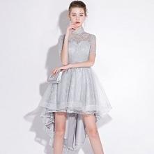 Piękne Srebrny Sukienki Koktajlowe 2018 Princessa Z Koronki Kwiat Szarfa Cekiny Wysokiej Szyi Kótkie Rękawy Asymetryczny Sukienki Wizytowe