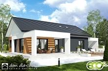 Projekt nowoczesnego domu parterowego KALIKST, w wariancie z wiatą. Widok od ...