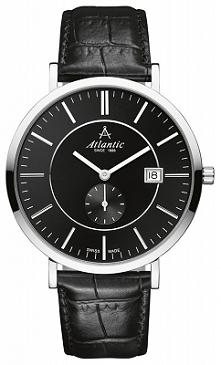 Atlantic 61352.41.61  elegancki zegarek dla mężczyzn zasilany baterią. Obudowa wykonana ze stali a pasek ze skóry. Wyposażony w bardzo wytrzymałe szkło szafirowe. Aby przenieść ...