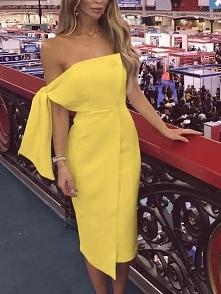 Solid Tie Sleeve Button Irregular Dress Rozmiar: S, M, L, XL Kolor: yellow