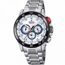 Festina 20352/1 męski zegarek sportowy wykonany z antyalergicznej stali. Mocowany na bransolecie. Posiada jasną tarczę. Wyposażony w wysoką skale wodoszczelności 100 metrów. Aby...