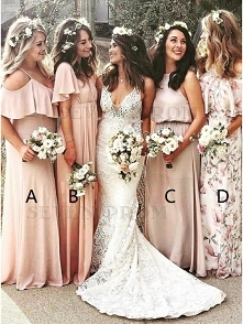 A-Line Cold Shoulder Peach Chiffon Bridesmaid Dress