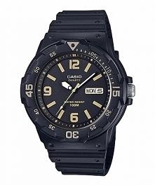 Casio MRW-200H-1B3V analogowy zegarek męski w sportowym stylu. Wykonany z czarnego tworzywa na czarnym pasku oraz z czarną tarczą na której widnieje datownik. Wodoodporność 10 A...