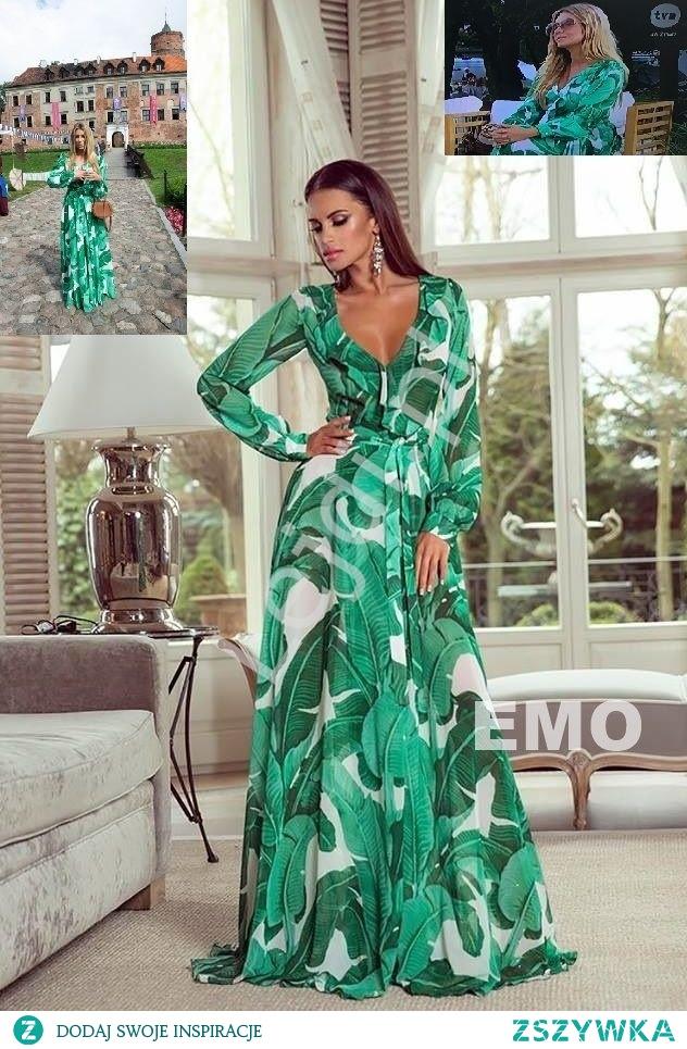 Zielona zwiewna suknia - suknia gwiazd Małgorzata Rozenek -Majdan Zielona zwiewna suknia o długości Maxi z wzorem roślinnym. Suknia z długimi luźnymi rękawami zakończonymi mankietami zapinanymi na guziczek, na ranmionach bufki. Dekolt wykończony falbaną. Sukienka uniwersalna, zawiązywana w talii, dzięki czemu można ją dopasować do sylwetki. Suknia z bardzo miłego delikatnego materiału.  Modna suknia noszona przez Małgorzatę Rozenek -Majdan