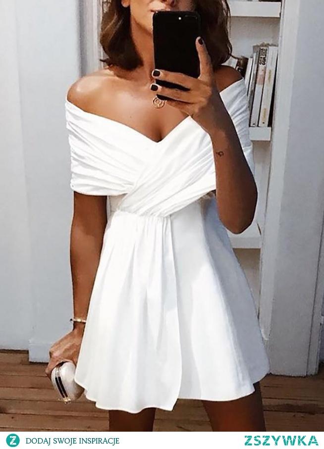 Solid Cross Over Bardot Mini Dress Rozmiar: S, M, L, XL Kolor: white