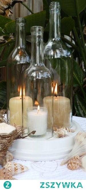 Świeczniki wykonane z butelek z odciętym denkiem. Wykonujemy takie na zamówienie. 531184444