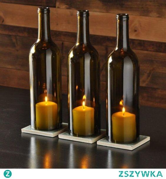 Świecznik z butelek od wina z odciętym dnem. Możemy takie dla Was zrobić. 531184444