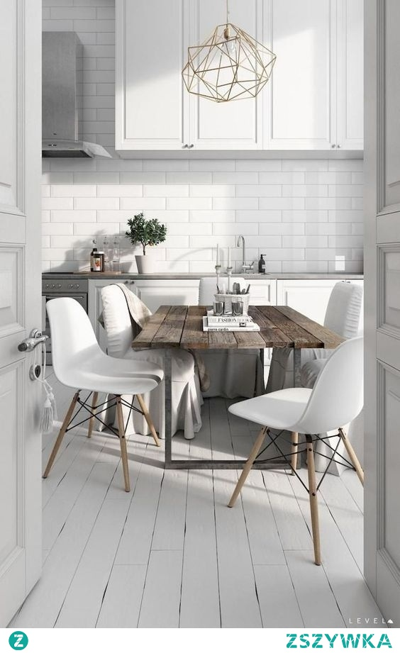 scandinavian kitchen with table
