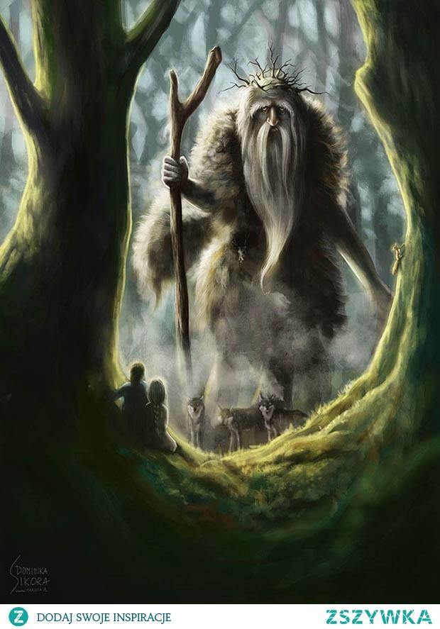 """DEMONY LEŚNE Leszy - kto grał w Wiedźmina, ten wie, że z Leszym nie warto zaczynać ;)Demon/duch opiekuńczy lasu, będący jego panem oraz władcą zwierząt w nim żyjących. W stosunku do ludzi jego zachowanie było zmienne, od neutralnego do wrogiego. Zależało to przede wszystkim od tego, jak traktowali oni las i stworzenia w nim żyjące. Leszy był szczególnie nieprzychylny myśliwym i drwalom, którzy wyraźnie naruszali jego ekumenę. W zależności od swojego nastawienia mógł wyprowadzać ludzi na manowce lub pomagać znaleźć wyjście z lasu, psocić poprzez np. wysypywanie runa leśnego z koszyka, lub chronić przed atakiem dzikich zwierząt. Dawniej miejsce, gdzie zaobserwowano obecność leszego lub przejawy jego działalności, uznawano za sanktuarium. Do takiej części lasu nie wolno było wchodzić, a przede wszystkich wyrządzać szkód (ścinanie drzew itp.), polować, ani zbierać owoców runa leśnego (powstawały takie naturalne rezerwaty).Leszy posiadał dobrze rozwinięte zdolności polimorficzne. Najczęściej ukazywał się jako z grubsza człekokształtna istota, starzec z brodą, czasami jednooki jak cyklop, osobnik o nienaturalnie białej twarzy. Potrafił zmieniać swoje rozmiary w zależności od wysokości drzewostanu. Mógł również przyjmować postać zwierząt takich jak wilk, niedźwiedź, puchacz, a nawet przeistaczać się w wiatr. Pomocnikami leszego były różne pomniejsze demony, duszki i chochliki leśne, takie jak auk (duch echa), puszczewik, Mochowie, ługowoj czy polewoj. Występowały również istoty opiekuńcze, np. grybicz, jagodynicz, pczelicz których nazwy jasno wskazują jakimi """"mieszkańcami"""" lasu się zajmowały.Leszy staje się coraz popularniejszy dzięki serii gier Wiedźmin, gdzie został odwzorowany właśnie na wierzeniach słowiańskich."""