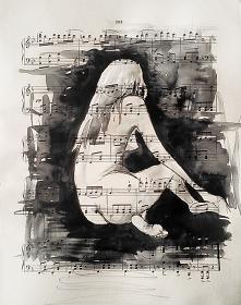 """""""JESTEM MUZYKĄ 2"""" akwarela wykonana przez artystkę plastyka Adrianę Laube na papierze z nutami o wymiarach 33x26cm"""