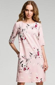 Moe M379 sukienka pudrowa Modna sukienka wykonana z lekkiej drukowanej tkanin...