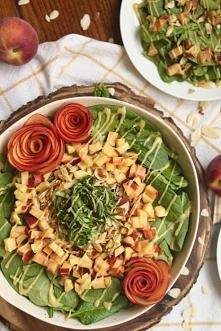 Peach Basil Spinach Salad w...