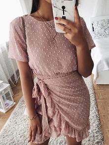 Spot Self-Belted Overlap Summer Dress Rozmiar: S, M, L, XL Kolor: pink