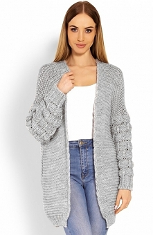 PeekaBoo 60003 sweter szary Rewelacyjny kardigan w formie bomberki, rękawy ozdobione pięknymi warkoczami, luźniejszy fason