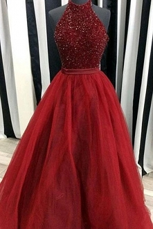 red sleeveless long prom dress