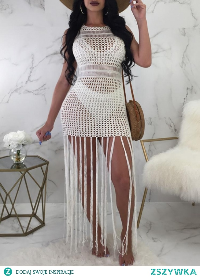 Reversible Crochet Hollow Out Tassels Cover Up Dress Rozmiar: S, M, L, XL Kolor: white