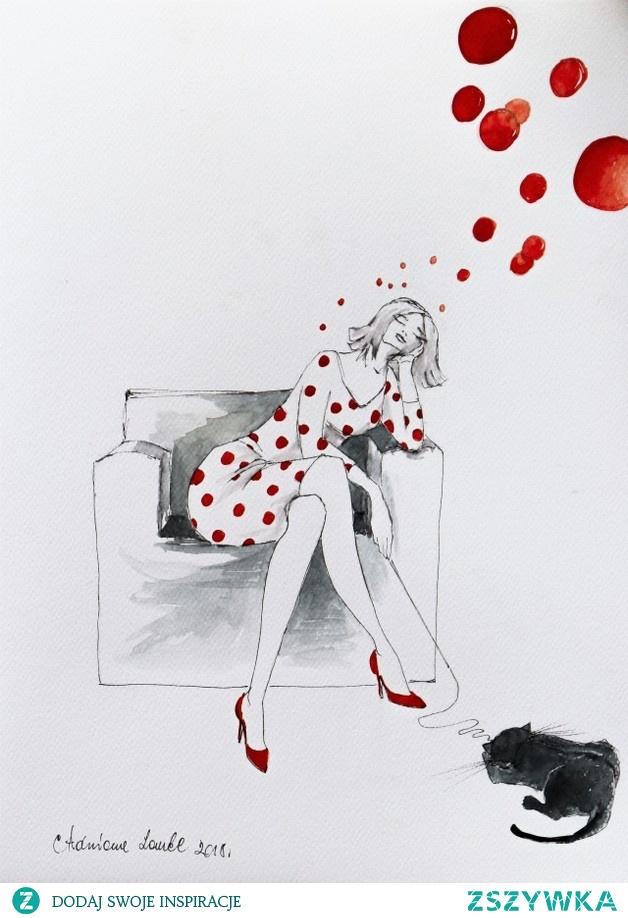 """""""POMYSŁY' praca wykonana akwarelą i piórkiem przez artystkę plastyka Adrianę Laube na 300g papierze A3."""