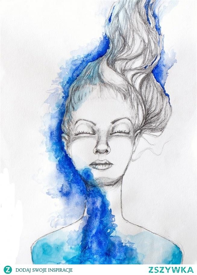 """""""SPOKÓJ"""" rysunek ołówkiem z dodatkiem akwareli artystki plastyka Adriany Laube na 300g papierze A3. Praca sygnowana."""