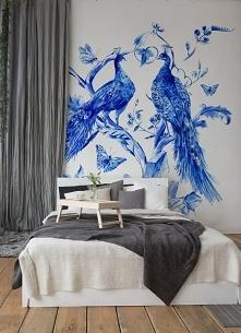 Naklejka ścienna niebieskie pawie - w tak udekorowanej sypialni z pewnością m...