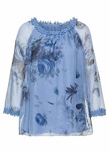 Tunika z koronką bonprix jasnoniebieski w kwiaty