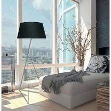 Nowoczesna lampa podłogowa z abażurem w kolorze czarnym lub białym. Lampę wyr...