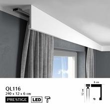 Listwa osłaniająca karnisz o wysokości 12cm to model QL116 Elite Mardom Decor. Gładka osłona karnisza nie posiadająca zdobień, z możliwością użycia paska LED. Listwa karniszowa ...