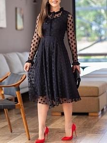 Polka Dot Sheer Mesh Long Sleeve Dress Rozmiar: S, M, L, XL Kolor: black