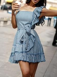 Striped One Shoulder Ruffle Detail Mini Dress Rozmiar: S, M, L, XL Kolor: blue