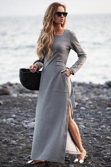 Sukienka maksi z rozcięciem  szara