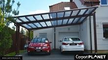 Wiata garażowa drewniana przyścienna dwustanowiskowa projekt P2