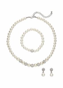 Komplet biżuterii z perełek bonprix kremowo-srebrny