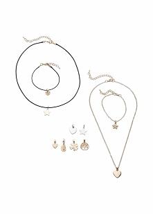 Komplet biżuterii (14 części) bonprix złoty kolor - czarny