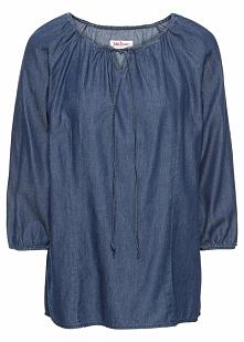 Tunika dżinsowa, rękawy 3/4 bonprix niebieski