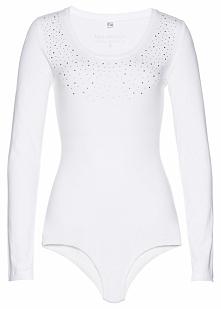 Body shirtowe bonprix biało-srebrny