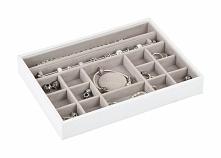 Pudełko na biżuterię 16 komorowe classic Stackers biało-beżowe