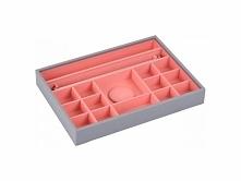 Pudełko na biżuterię 16 komorowe classic Stackers szaro-koralowe