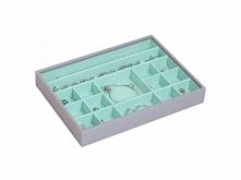 Pudełko na biżuterię 16 komorowe classic Stackers szaro-miętowe