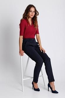 Granatowe eleganckie spodnie  w kant BIALCON