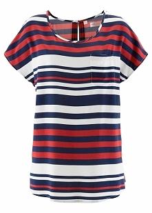 Tunika bluzkowa bonprix ciemnoniebiesko-czerwono-biały w paski