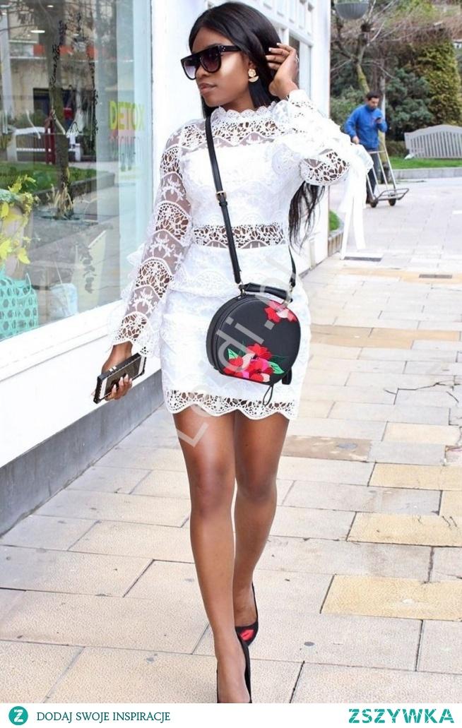 Biała koronkowa sukienka z wiązaniami na rękawach Instagram HIT