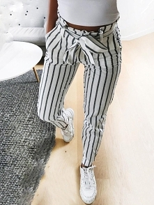 Fashion Striped Belted Casual Pants Rozmiar: S, M, L, XL Kolor: white