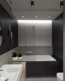 Łazienka z czarnym motywem ...